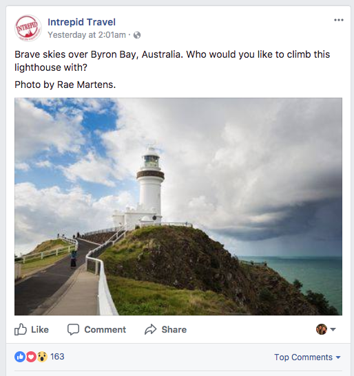 Intrepid Travel uses it's Facebook post to start a user-discussion.