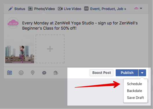 You can schedule Facebook posts in the options under the Post button.