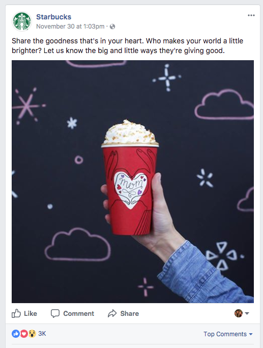 Facebook post example from Starbucks that encourages engagement.