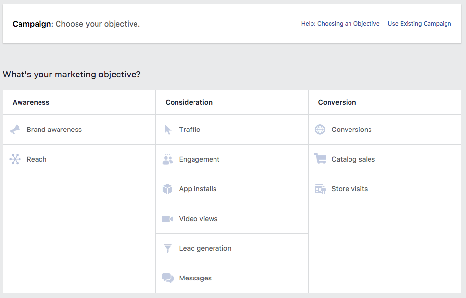 Facebook Ads Manager Select Goal