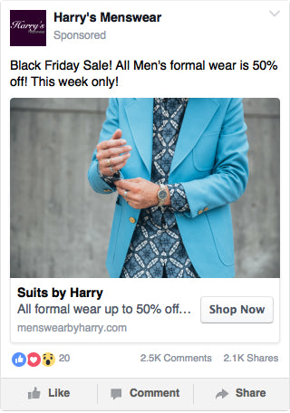 Facebook Men's Fashion Ad Example