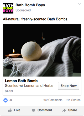 Facebook Dynamic Ad Example - Bath Bombs