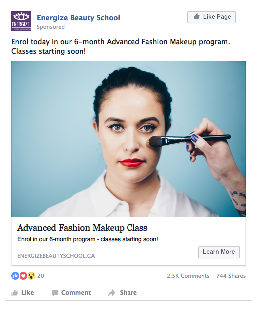 Facebook Beauty School Ad Example