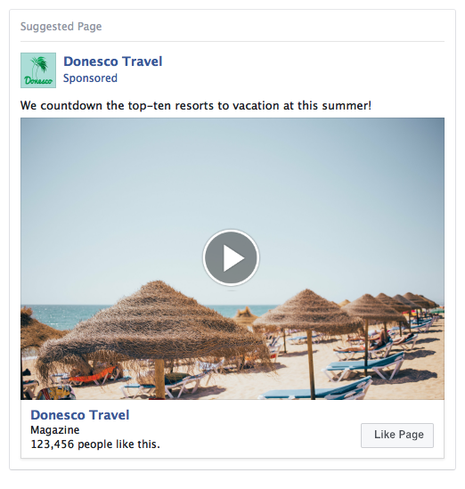 Facebook Page Lead Ad Example - Travel