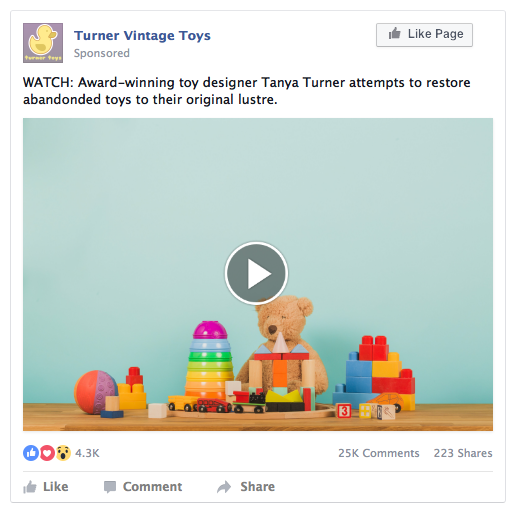 Facebook Page Lead Ad Example - Toys