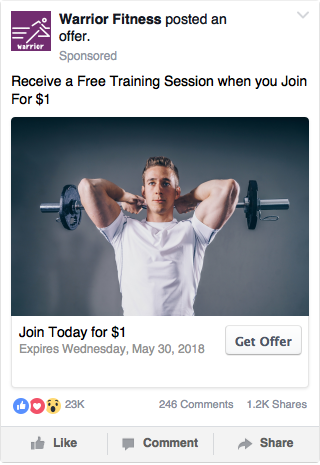 Facebook Broad Targeting Example - Fitness