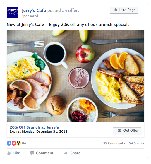 Facebook Offer Ad Example - Restaurant