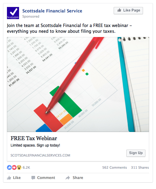Facebook Lead Ad Example - Tax Seminar
