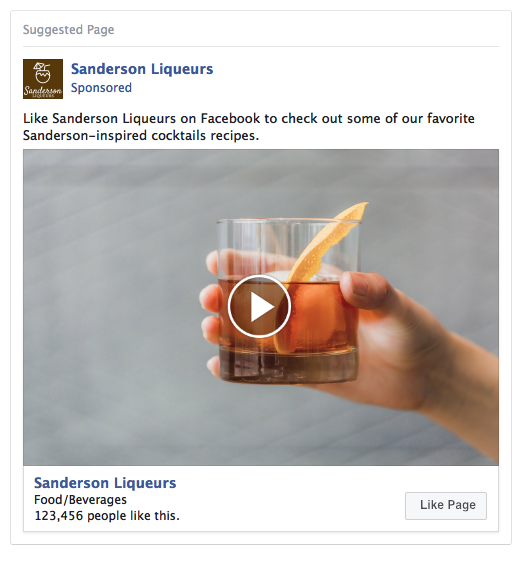 Facebook Page Like Ad Example - Liquers
