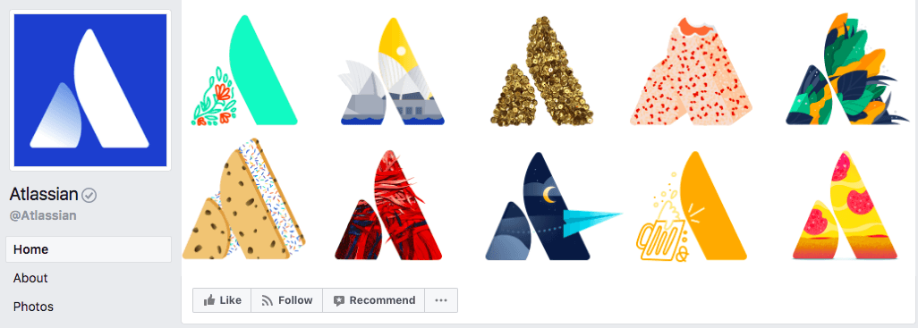 Atlassian uses unique patterns on its logo to showcase their brand through their cover photo.