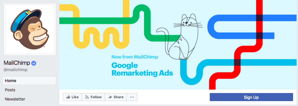 Mailchimp's cover photo effectively uses the 820 pixels by 312 pixels dimensions to highlight a product update.