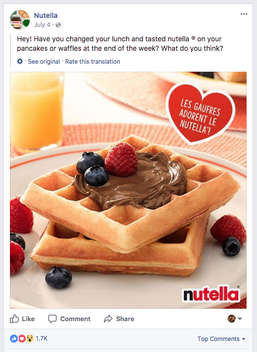 Nutella asks its followers for feedback.