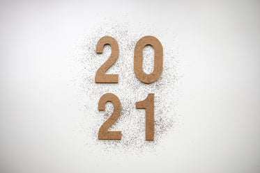 2021 wooden numbers with glitter