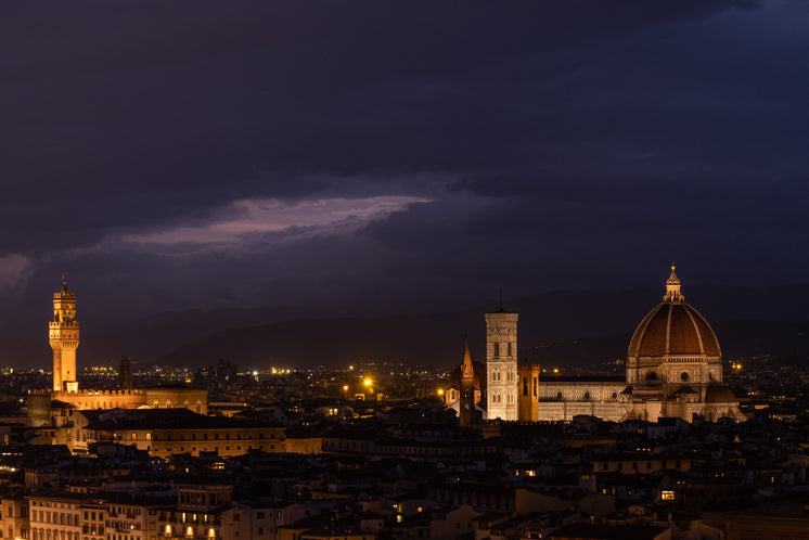 A Beautiful Cathedral Dome And City Skyline At Night