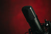 a black mounted metal microphone against red