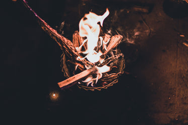a bowl of kindling set aflame
