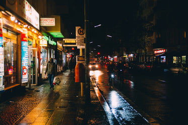 a busy street at night
