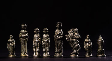 a close up on a chess army