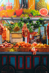 a colorful fruit cart on wheels