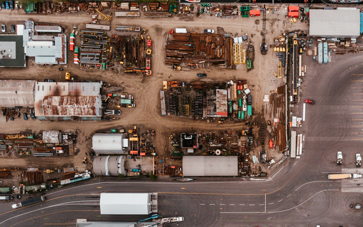 A Drone Shot Of A Scrap-Metal Area