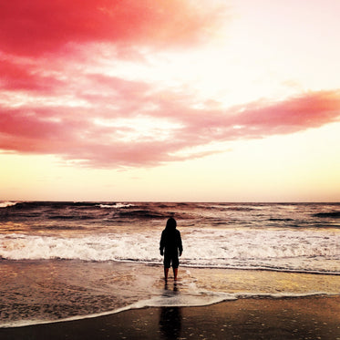 a figure in a hoodie on a beach at the shoreline
