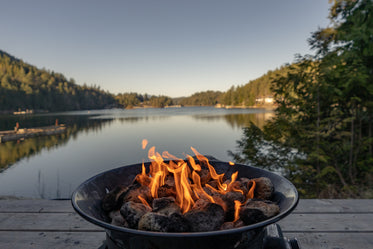 a fire by the lake