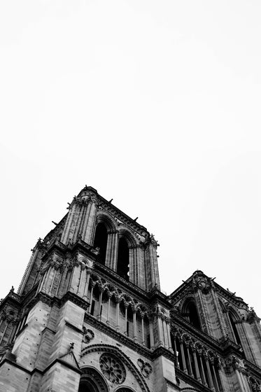 a gothic cathedral in black and white