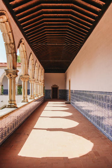 a long and tiled hallway