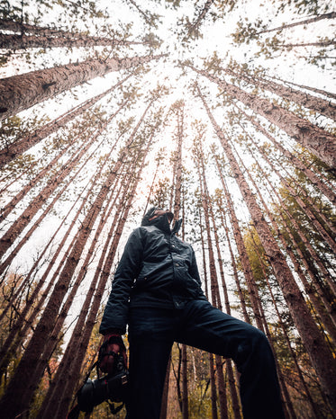 a man with a camera stares up at the sky through the trees