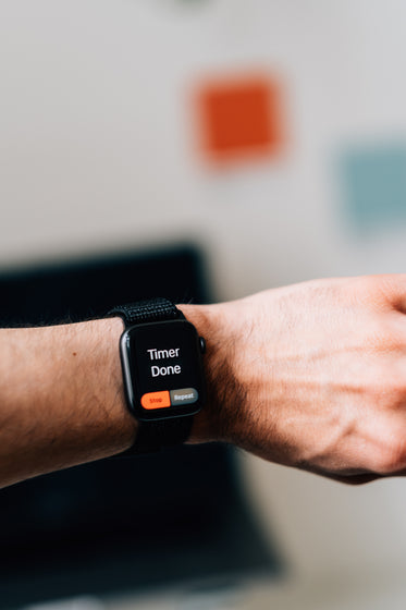 a smart watch showing that the timer is complete