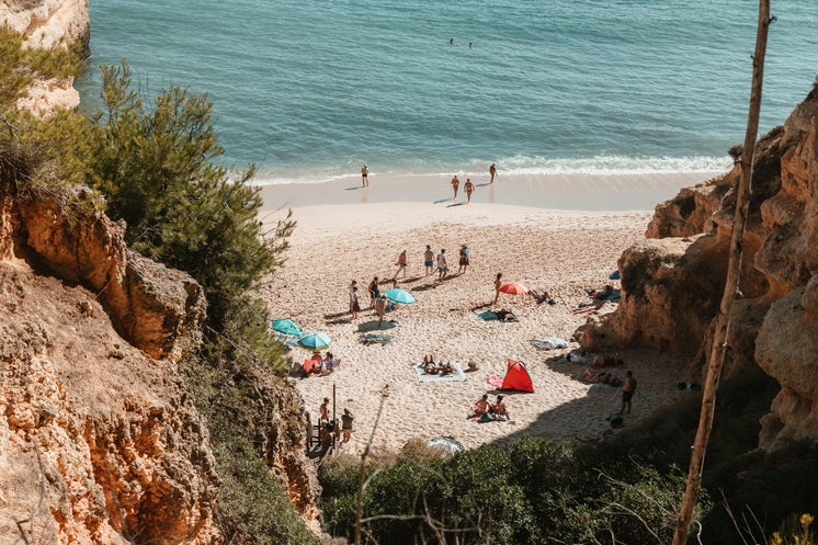 A View From A Cliff Onto A Sandy Beach