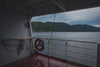 a view of mountains from the lower deck