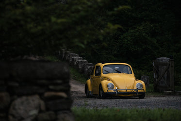 a yellow car parked on a lush country road