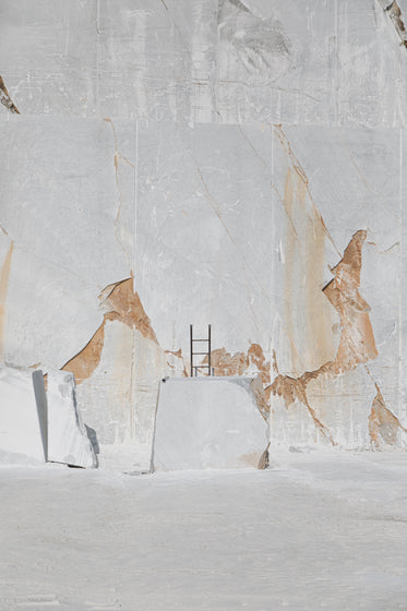 abstract white marble and a ladder