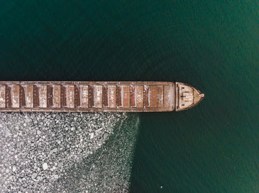 aerial view of a boat surrounded by ice