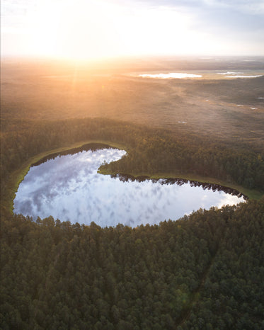 aerial view of a heart shaped lake