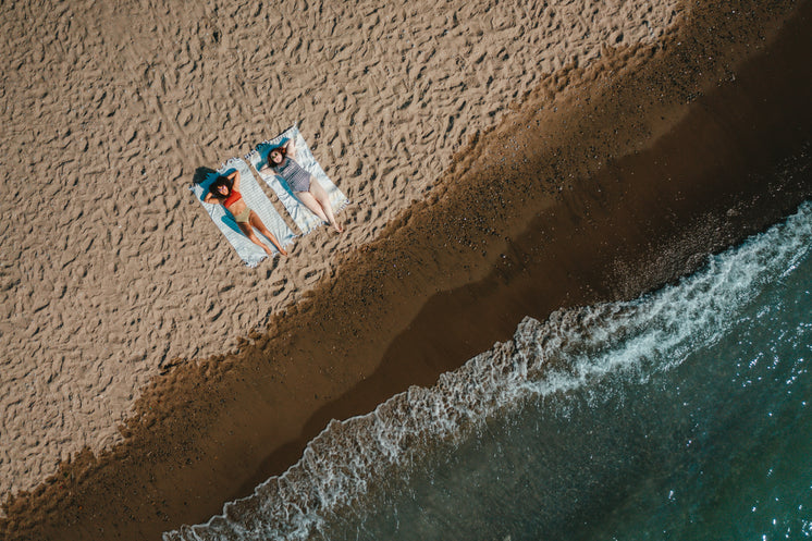 Aerial View Of Sandy Beach With Two Women Laying On Blankets