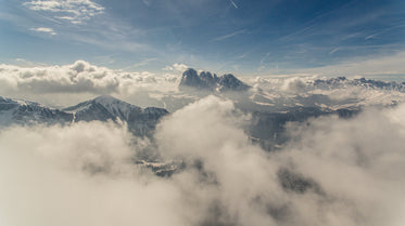 aerial view of snow-capped mountains