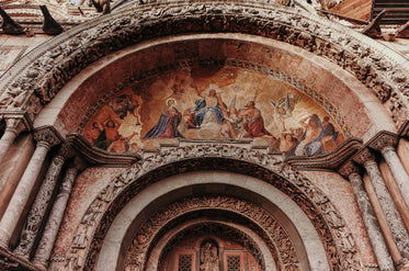 alcove in a building with a religious painting