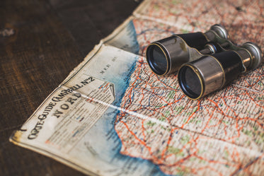 Free Stock Photo of Antique Binoculars And Map — HD Images