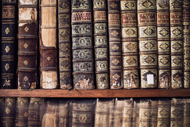 antique books on a library shelf