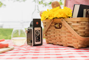 antique camera with picnic basket and wine