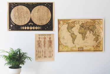 antique posters on home wall
