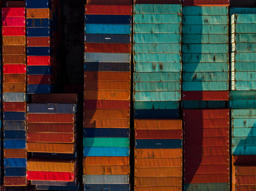 arial view of shipping containers