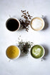 assorted hot beverages tea matcha coffee