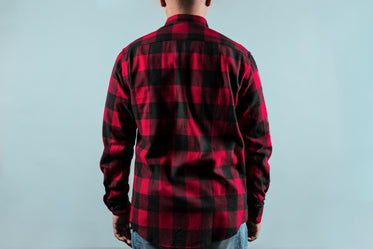 back of red plaid shirt