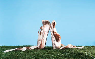 ballet pointe shoes on grass