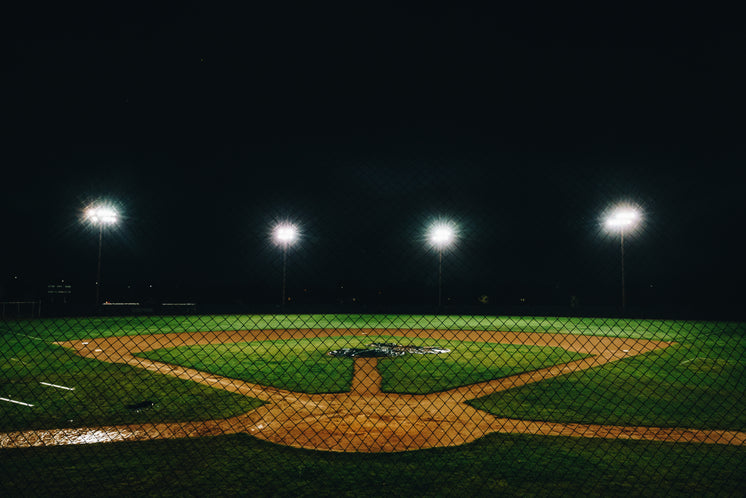Baseball Diamond Lit At Night