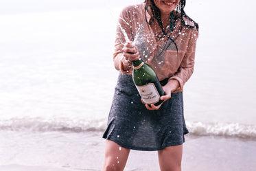 beach party with champagne