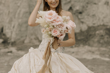 beautiful wedding bouquet and bride
